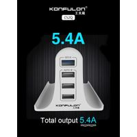 Konfulon Multi Port USB Charger with Phone Stand, 30W 5.4A, 4-port USB Charging Station with QC3.0
