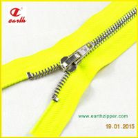 Customized Metal silver teeth open end zipper, double points teeth zipper, bags zipper