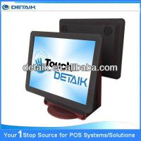 Dual 15 inch Touch POS Terminal / POS System / Cash Register / EPOS Solution / ECR with Customer Dis
