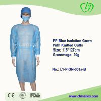 LY Disposable non-woven PP Blue Isolation Gown With Kintted Cuffs