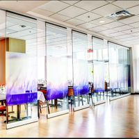 Aluminum Profile Tempered Painting Glass Walls Foldable and Demountable Movable Partitions