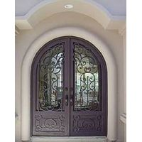 Entry iron door with glass leaf