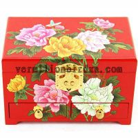 wooden jewelry box,elegant and gorgeous style.wedding gift/gift for her-peony blossom