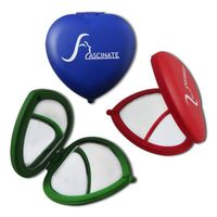 Promotional compact makeup mirrors, heart shape and double-sided thumbnail image