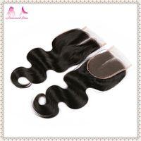 Hot sale cheap 100%virgin brazilian hair body wave closure 44