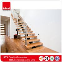 Interior glass railing wood step single beam straight stairs