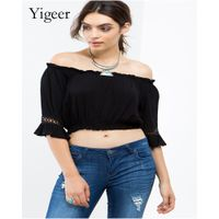 Pure Color Half Sleeve Lace Off Shoulder Women's Top Blouse thumbnail image