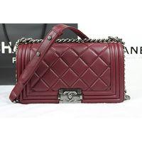 Chane Le Boy Flap Shoulder Bag A67025 in Purplish Red Original Calfskin Leather Silver Hardware