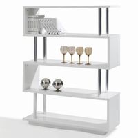 Modern bookcase furniture high gloss white lacquer free stand