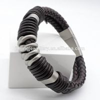 Cheap Wholesale Make Your Own Fashion Men's stainless steel Magetic leather bracelet