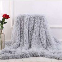 Soft Fur Throw Blanket for bed Long Shaggy Fuzzy Fur Faux Winter Blankets for Bed Sofa Warm Cozy Wit thumbnail image