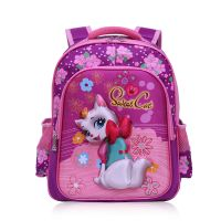 Polyester school bag with carton design, beautiful girls kids school backpack bag, high quality