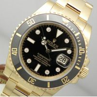 New Rolex SUBMARINER 116618 Mens Yellow Gold Black DIAMOND Dial & Ceramic Bezel 40MM
