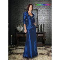 2014 Free Shipping  Top Quality Custom Made Royal Blue Satin Taffeta Beading Mother of the Bride Dre