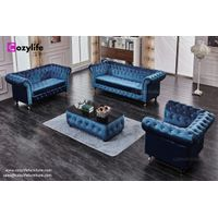 UK hot sale blue velvet chesterfield sofa thumbnail image
