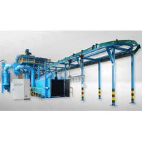 Overhead rail conveyor shot blasting machine