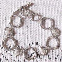 Sterling Silver Jewelry Pave CZ Diamonds Links Bracelet (B-076) thumbnail image