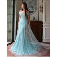 Off the Shoulder Short Sleeve Evening Gowns, Chapel Train Long Tulle Light Blue Prom Dresses