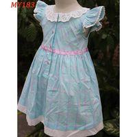 Unique design lace neck kids dress little girl clothes thumbnail image