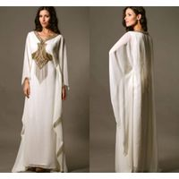 2014 New Arrival White and Gold Chiffon Embroidery A line Kaftan Dubai Long Sleeves Long Evening Dre
