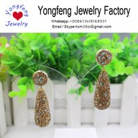 Crystal teardrop dangle earrings,paved with coloful plastic little ball