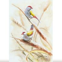 Original Handmade Paintings Two Birds Canvas Romantic Wall Art