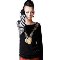 Asymmetric Stripes Cotton Cotton Casual Tops,Fashion Tee thumbnail image