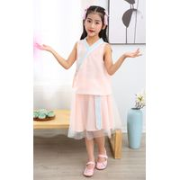 Girl summer sleeveless cross colar two piece setsTang suit Chinese traditional dress Chinese ethnic thumbnail image