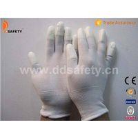 White nylon with white PU glove-DPU101