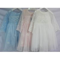 High quality Lace Embroidered Girls Clothes Bridesmaid Wear Long Sleeve Flower Girl Dress thumbnail image