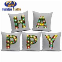 Luxury led printed indian linen cushion covers wholesale