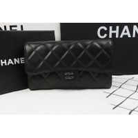 Chane Flap Long Wallet A31506 in Black Original Lambskin Leather with Silver Hardware thumbnail image
