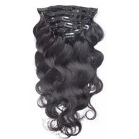 LEDON Clip-in Hair Extensions, Bodywave BW, Color 1B, Natural Black, 100% Human Hair Extensions