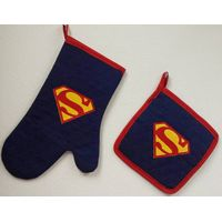 Super Hero Super man Full cotton Mustache Oven Mitt (oven glove) and Pot Holder Cooking tools Set