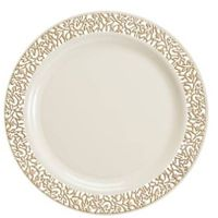 "Decorline 10.25"" Cream Dinner Plastic Plates w/ Gold Rim 10 1/4"" China-Like"