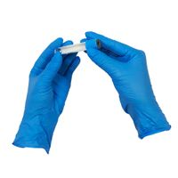 disposable blue 3.5g nitrile glove powder free finger embossed with S M L thumbnail image