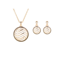 Retro Gold Plated Necklace Earrings Jewelry Sets