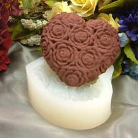 C0053 chocolate silicone mold rose heart /handmade soap moulds