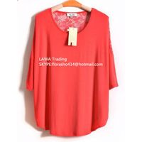 girl's lace contrast loose T-shirt