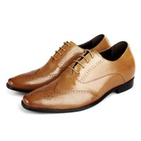 Chamaripa Men Genuine Leather Brogue Brown Wedding Dress Party Taller Shoes