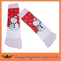 kids christmas snow man five toe  five finger socks
