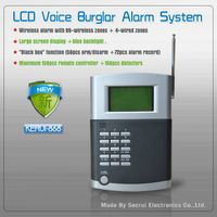 Menu display wireless home alarm system with voice prompt