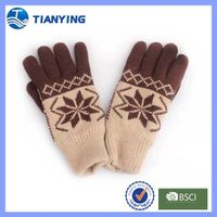 Tiangying men knitted five fingers jacquard acrylic winter gloves