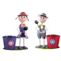 Metal Pot Garden Planter, Iron Boy Girl Figures Garden Flower Pot thumbnail image