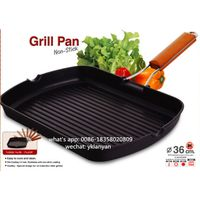 36CM Die cast Rectangle grill pan with foldable handle