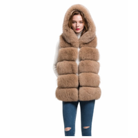 Soft and Bushy Genuine Fox Fur Vest for Women Fashionable Winter Warm Hooded Waistcoat Gilet