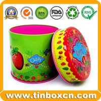 Food Packaging Embossed Round Metal Candy Tin Box