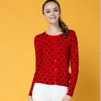 Latest design black dot Printing women button down cardigan as knitting sweater for ladies