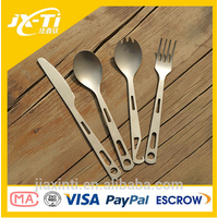 3-Piece Titanium Outdoor Camping Cutlery Kitchen Utensil Titanium Spork Fork Spoon Tableware