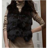 Women's Fox Fur Vest Fox Fur Coats Fox Fur Jacket Japanese & Korean style Z41 Black thumbnail image